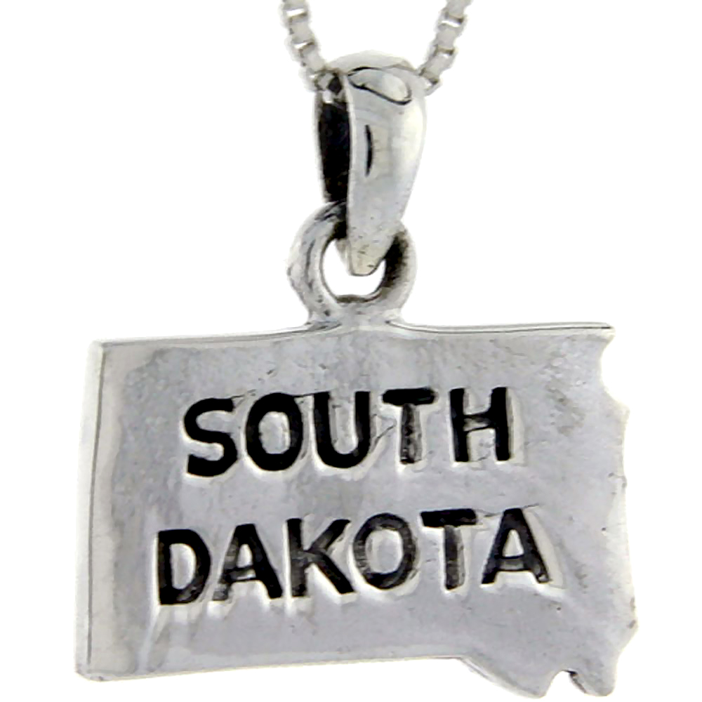 Sterling Silver South Dakota State Map Pendant, 1 inch tall