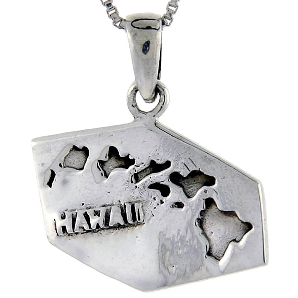Sterling Silver Hawaii State Map Pendant, 1 1/16 inch tall