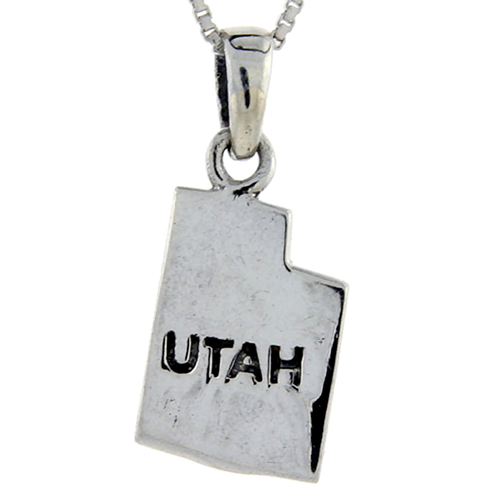 Sterling Silver Utah State Map Pendant, 1 inch tall