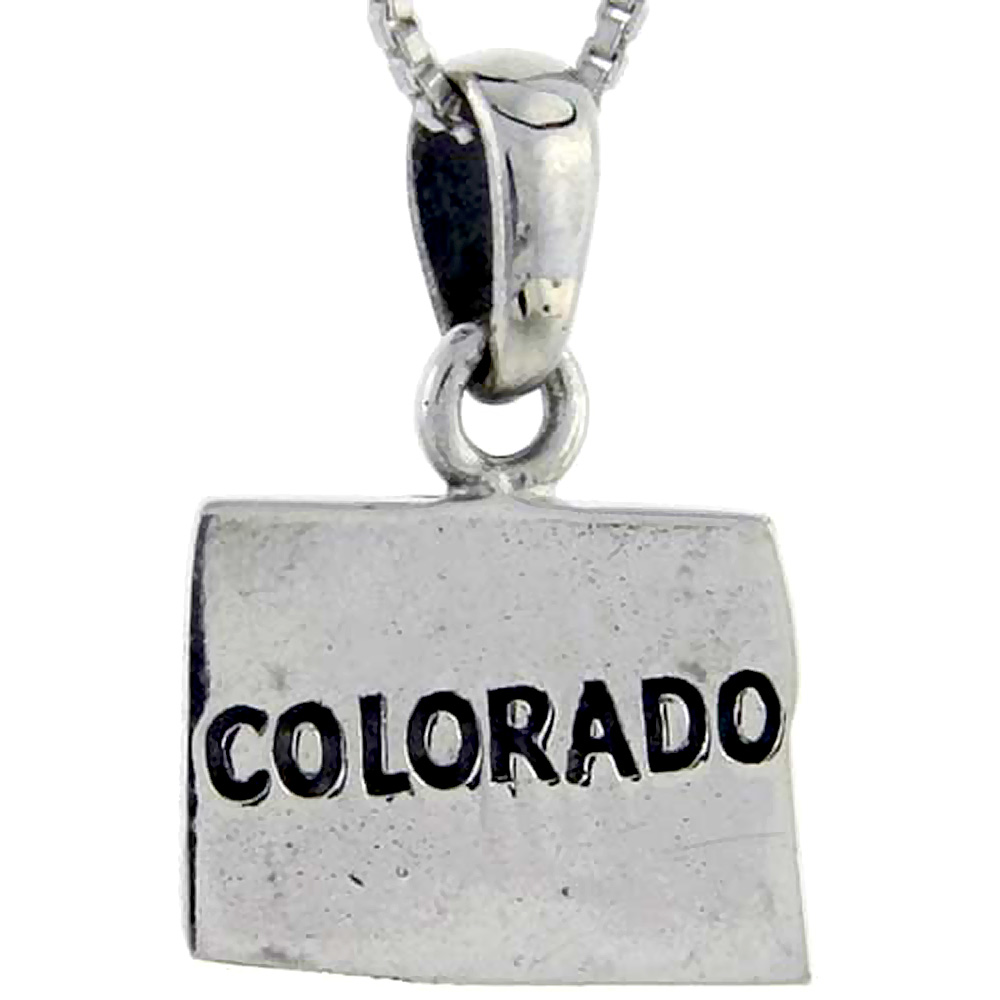 Sterling Silver Colorado State Map Pendant, 3/4 inch tall