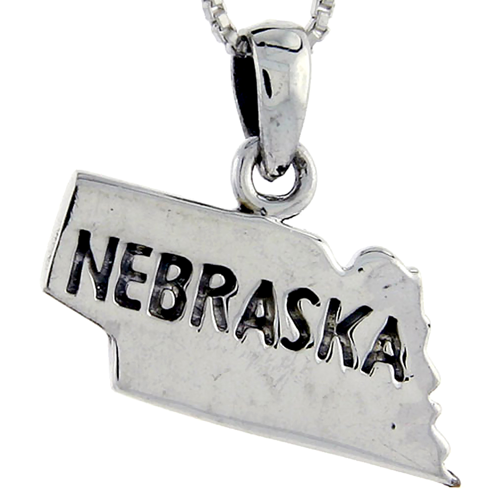 Sterling Silver Nebraska State Map Pendant, 3/4 inch tall