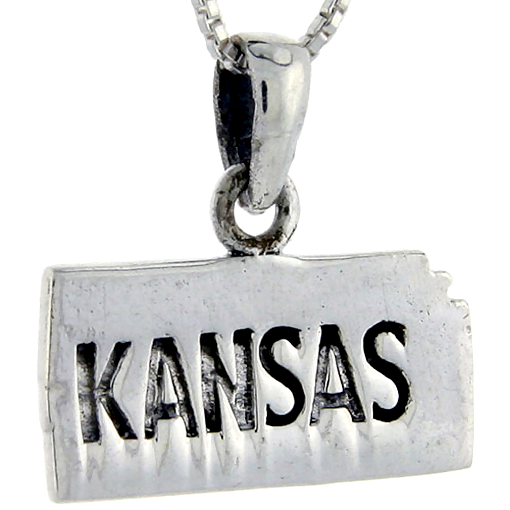 Sterling Silver Kansas State Map Pendant, 3/4 inch tall