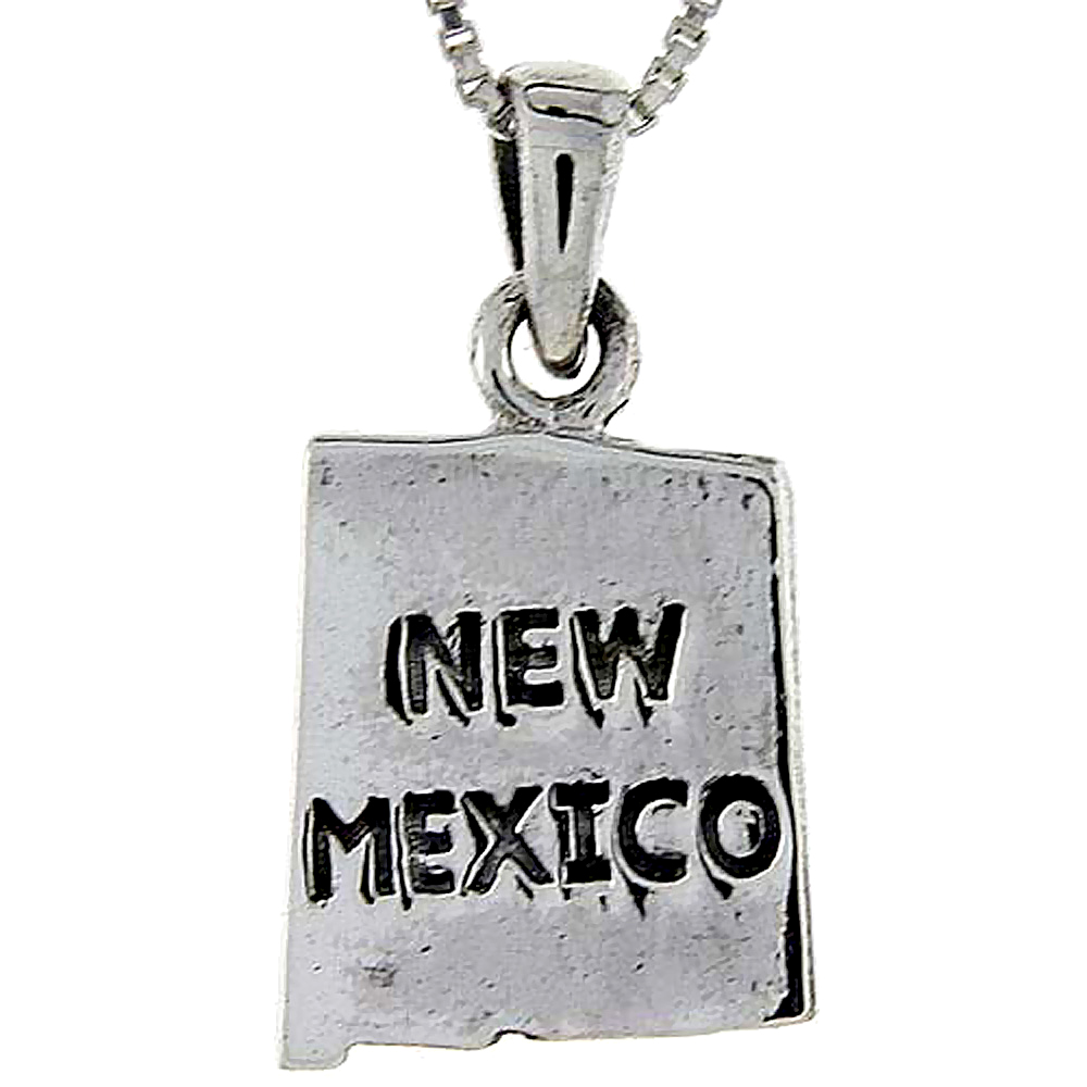 Sterling Silver New Mexico State Map Pendant, 1 inch tall