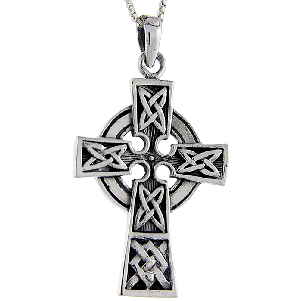 Sterling Silver Celtic Cross Pendant, 1 5/8 inch tall