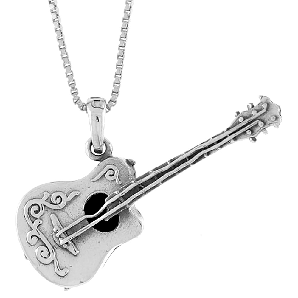 Sterling Silver Guitar Pendant, 1 1/2 inch
