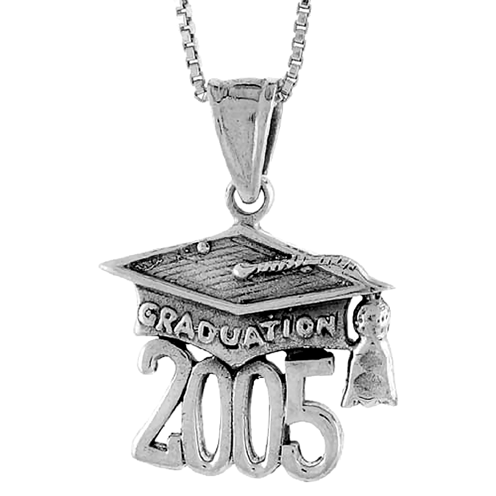 Sterling Silver 2005 Graduation Hat ( Mortarboard ) Pendant, 3/4 inch