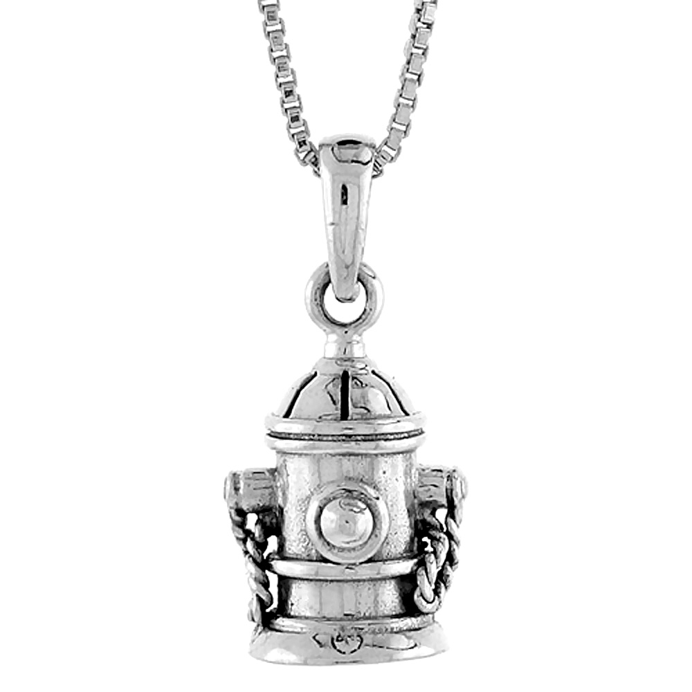 Sterling Silver Fire Hydrant Pendant, 1/2 inch