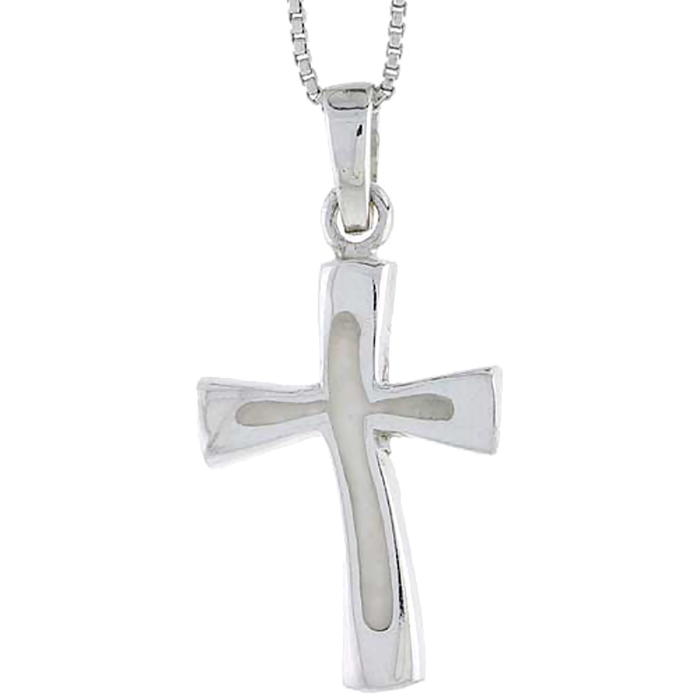 Sterling Silver Cross w/ White Enamel, 1 inch tall