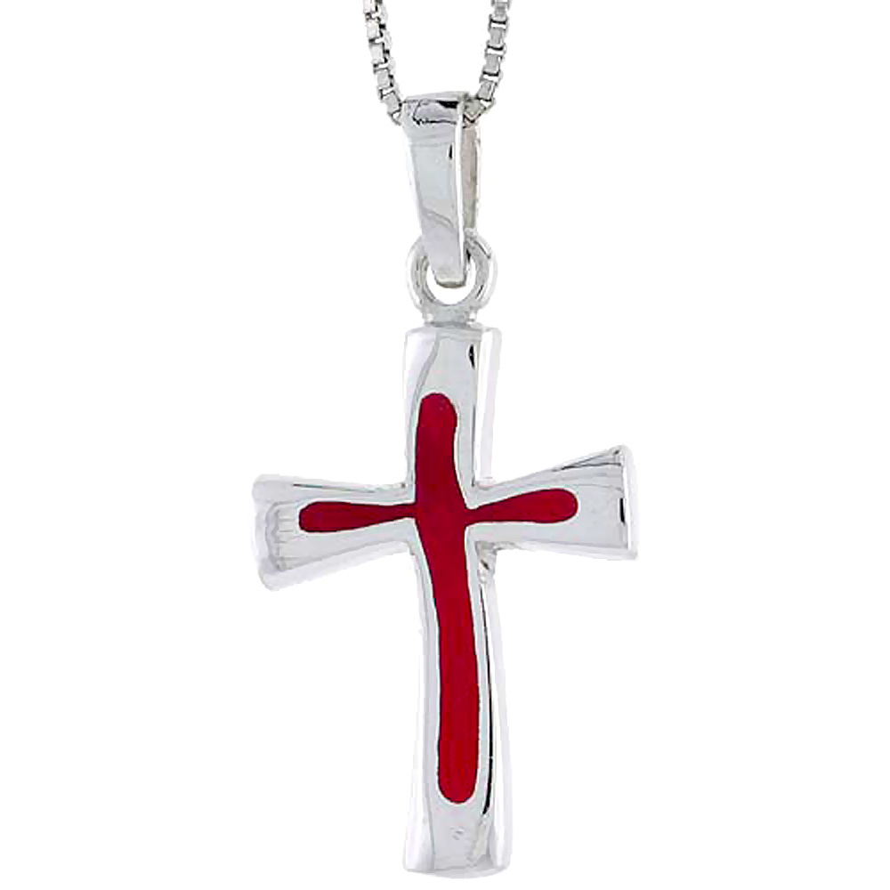 Sterling Silver Cross w/ Red Enamel, 1 inch tall