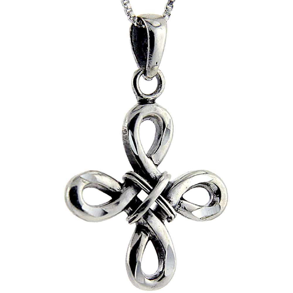 Sterling Silver Celtic Everlasting cross Pendant, 1 1/8 inch long