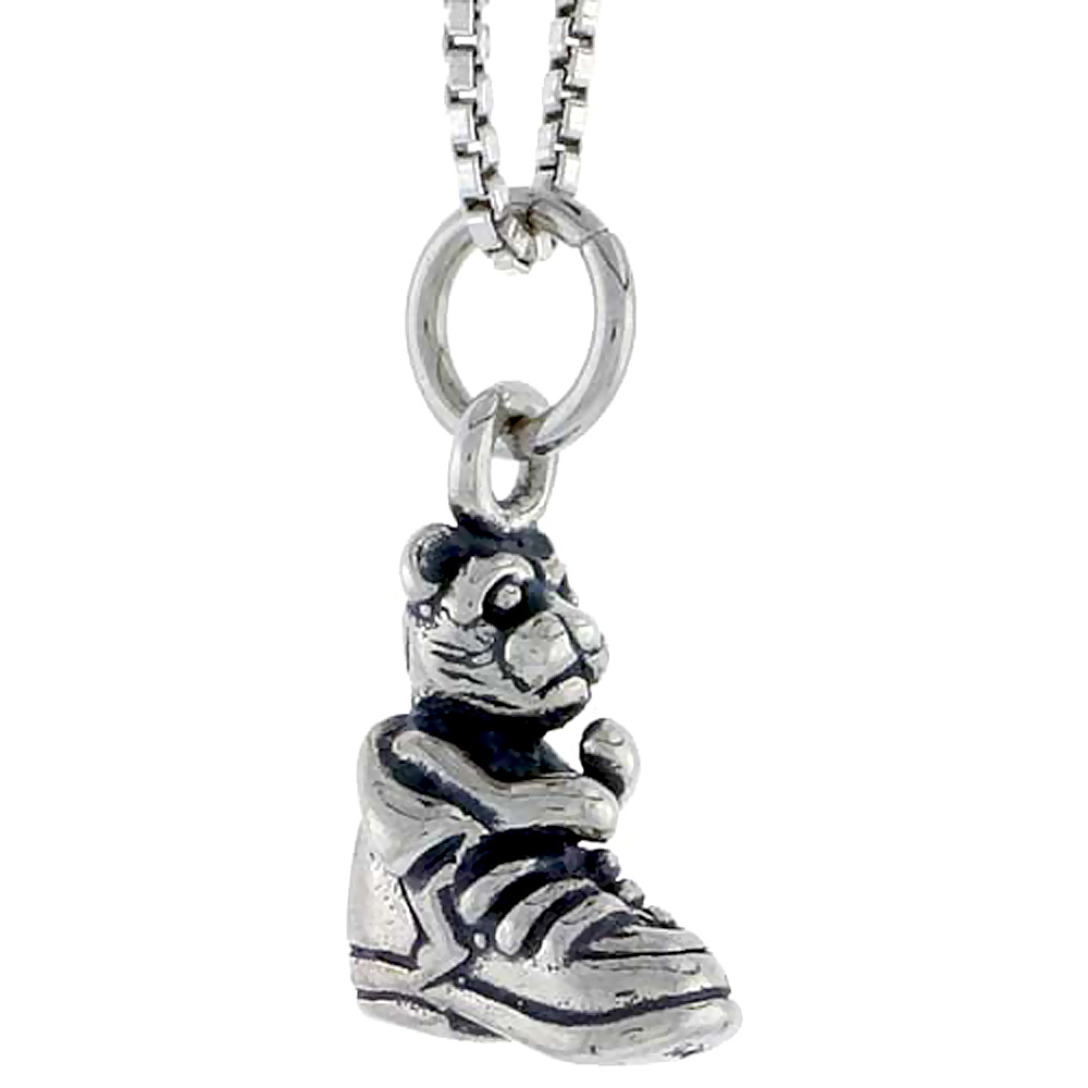Sterling Silver Shoe w/ Bear Charm, 1/2 inch tall