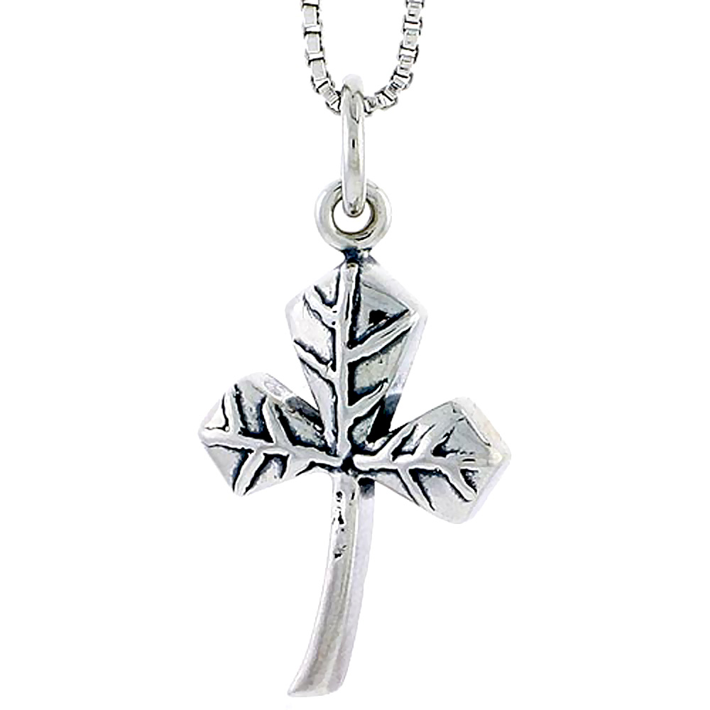 Sterling Silver Clover Leaf Charm, 3/4 inch tall
