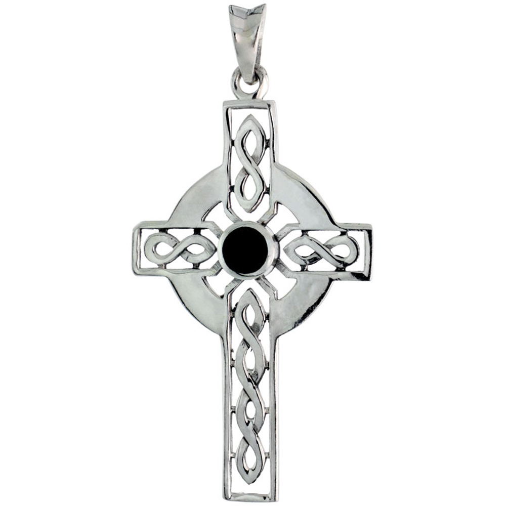 Sterling Silver Celtic Cross w/ Jet Stone Charm, 1 3/4 inch