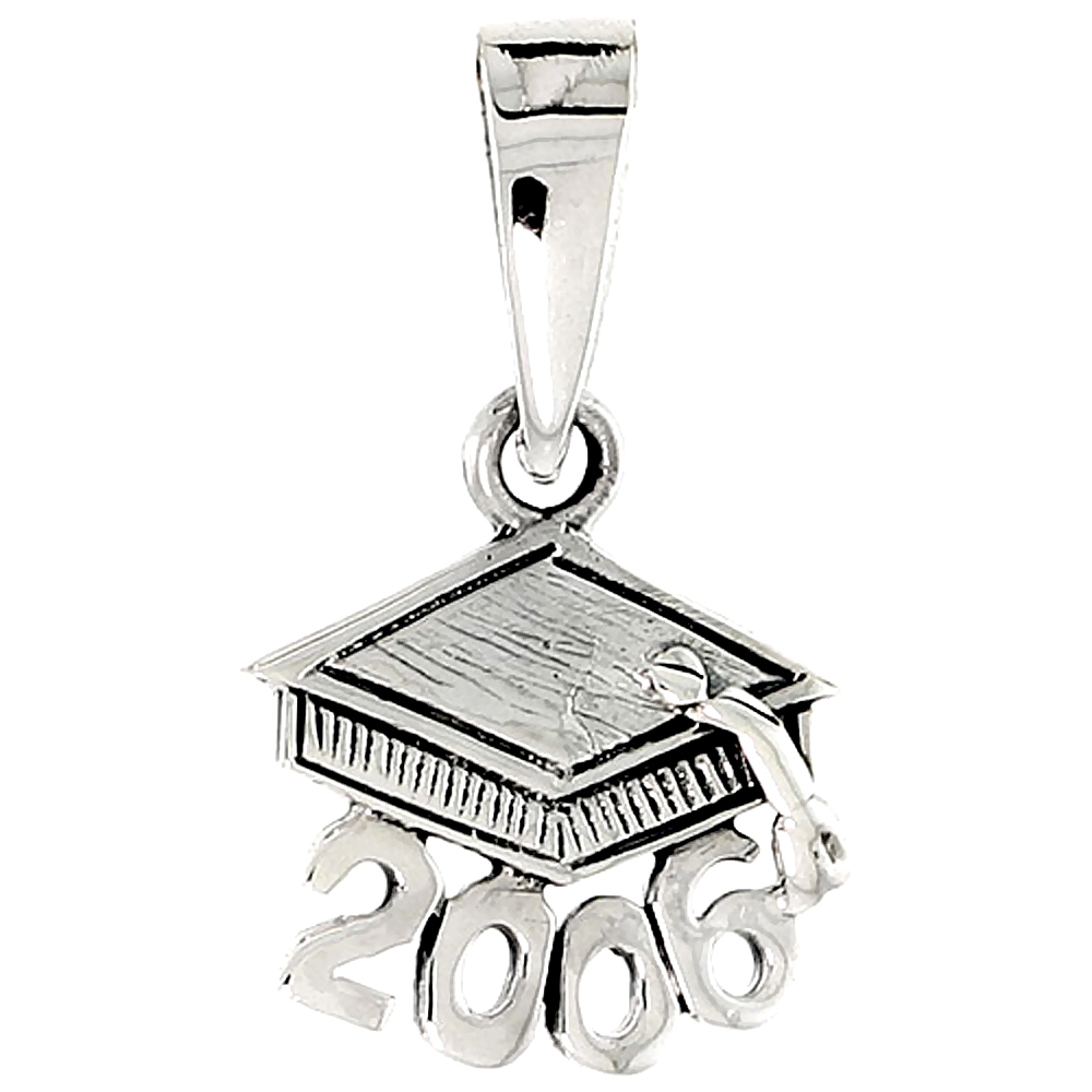 Sterling Silver Class of 2006 Graduation Hat / Mortarboard Word Charm, 1/2 inch tall