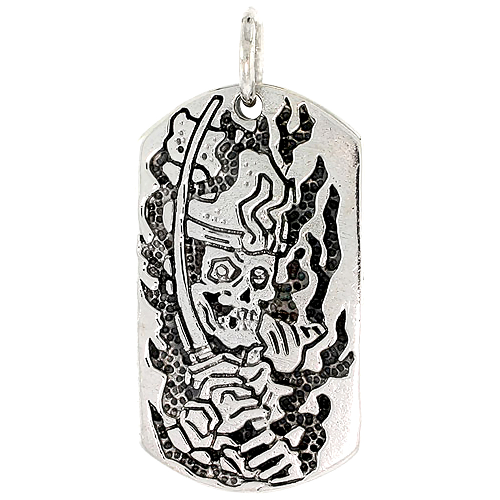 Sterling Silver Dog Tag Skull & Sword Charm, 1 1/2 inch tall