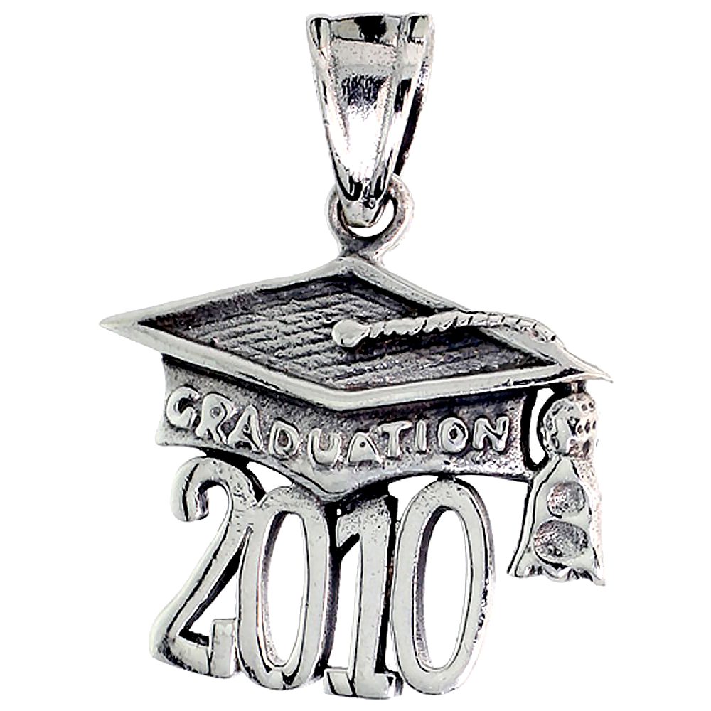 Sterling Silver 2010 Graduation Cap Mortarboard, 3/4 inch tall