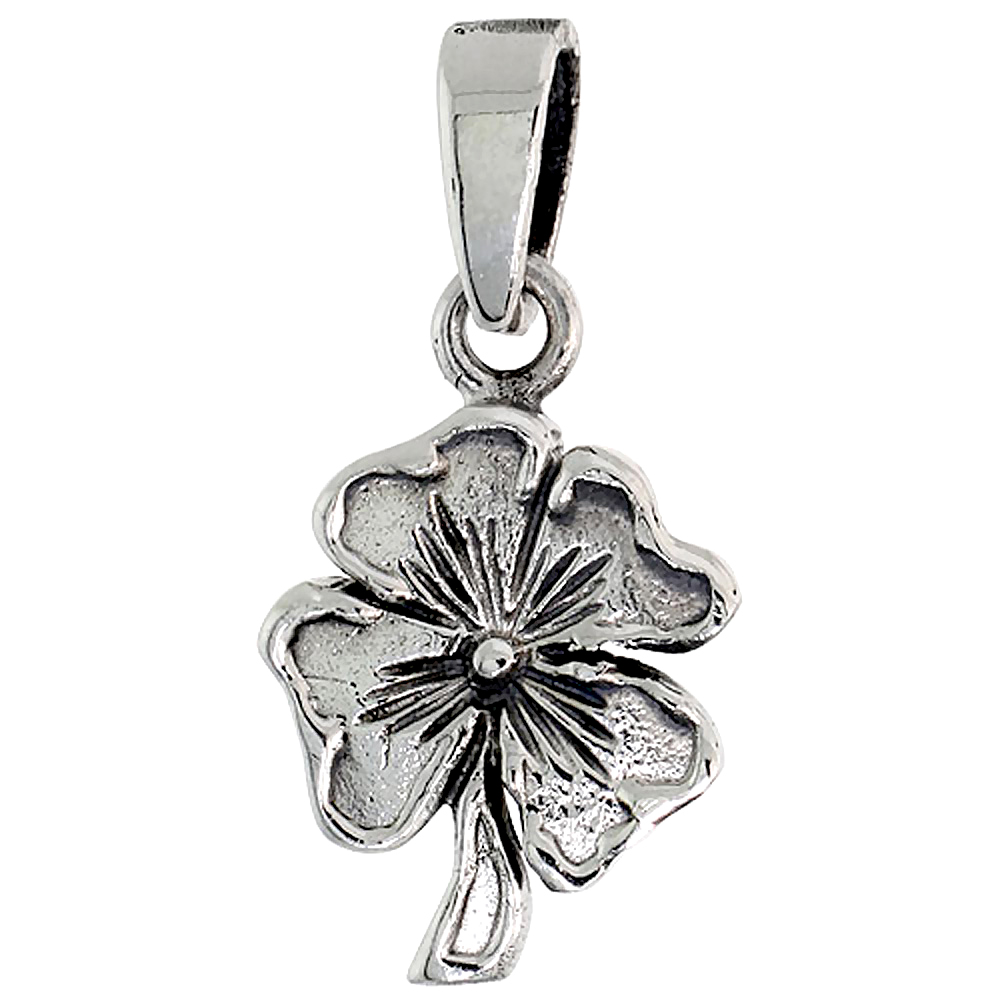 Sterling Silver Clover Charm, 5/8 inch tall