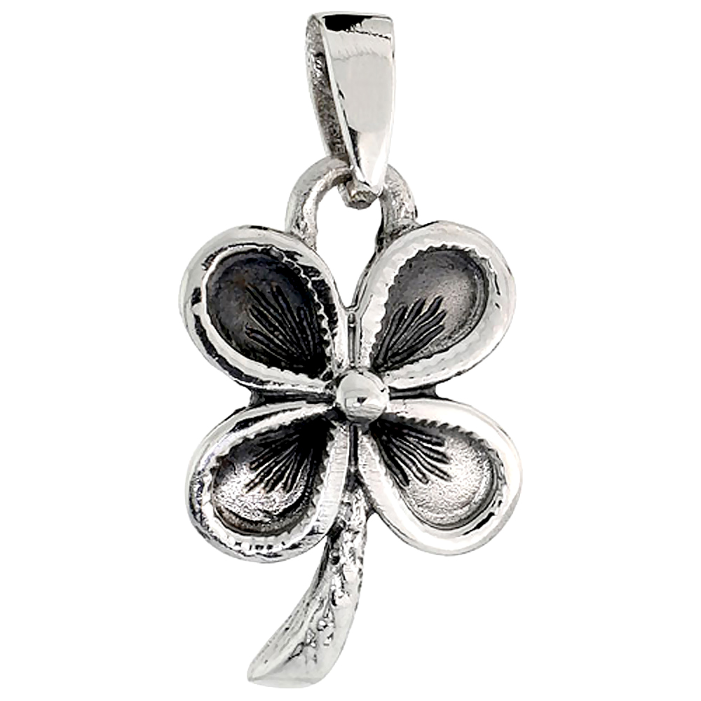 Sterling Silver 4-Leaf Clover Charm, 3/4 inch tall