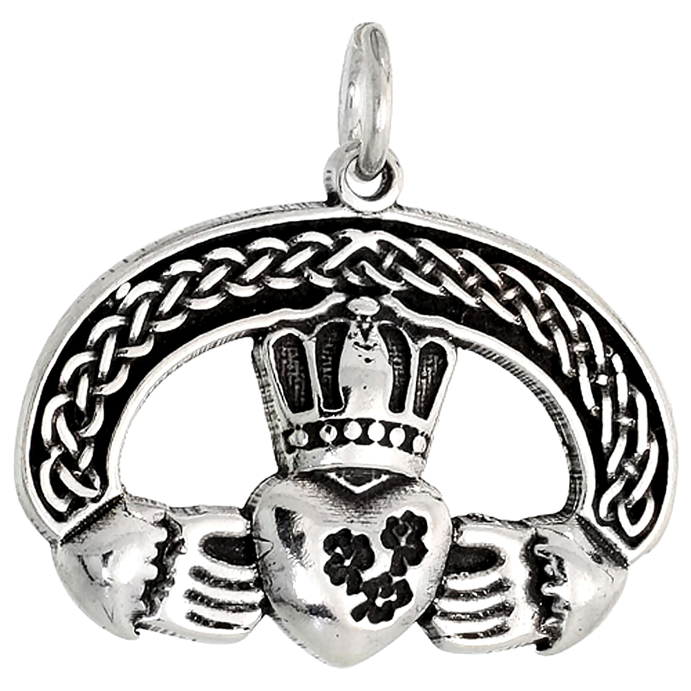 Sterling Silver Claddagh Charm, 1 inch wide