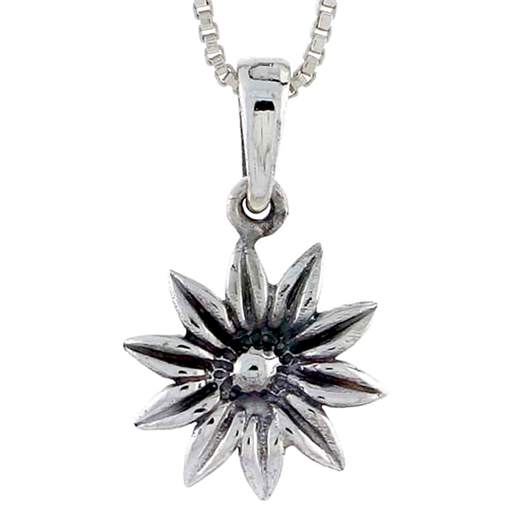 Sterling Silver Daisy Pendant, 5/8 inch tall
