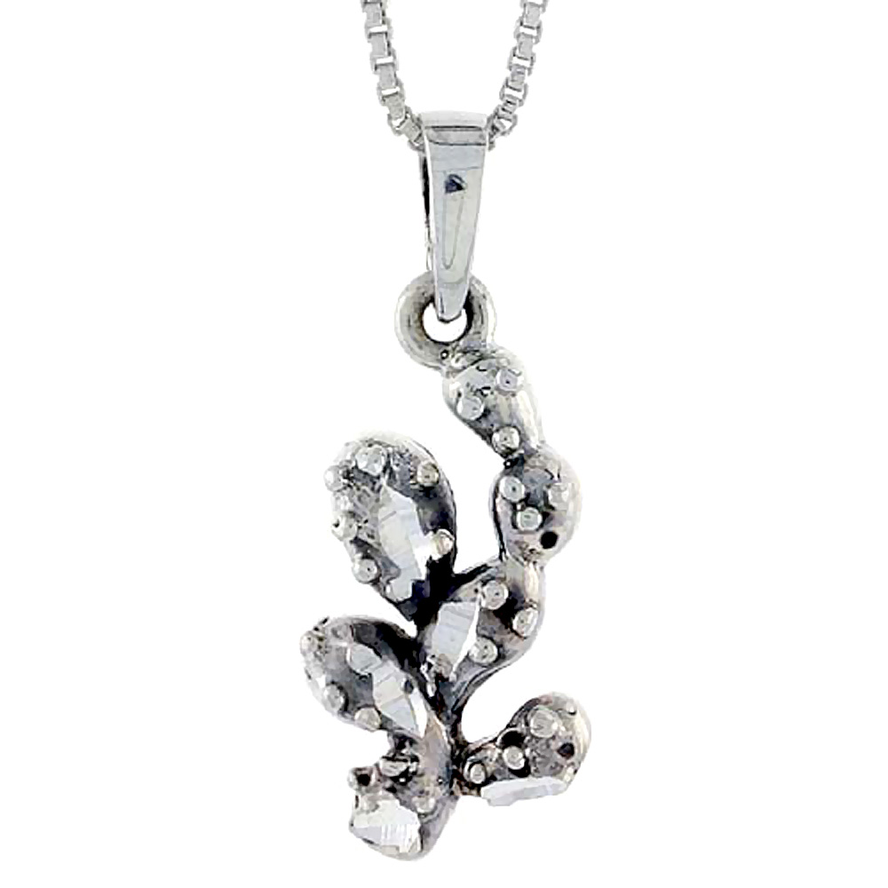 Sterling Silver Cactus Pendant, 7/8 inch tall