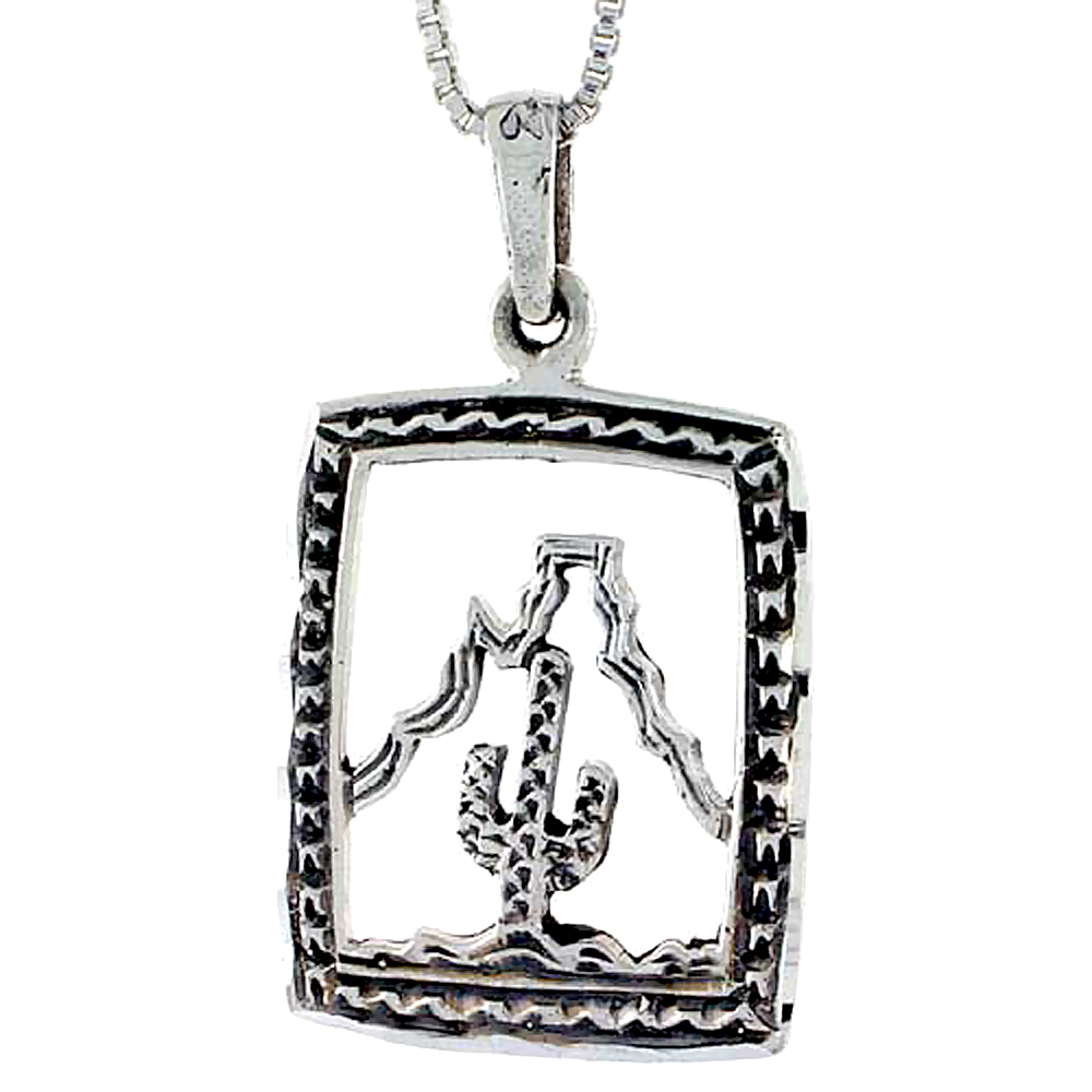 Sterling Silver Arizona Scenery Pendant, 1 inch tall