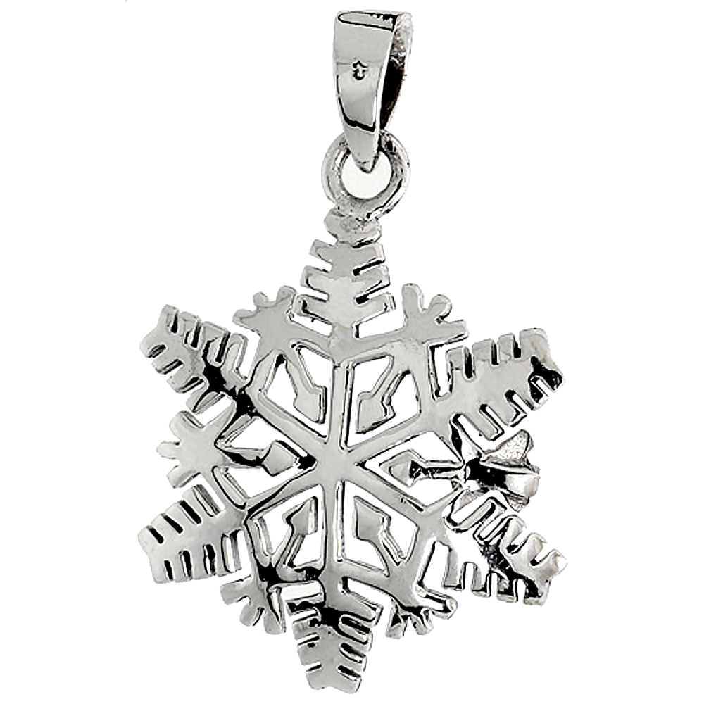 Sterling Silver Snowflake Pendant, 1 inch tall