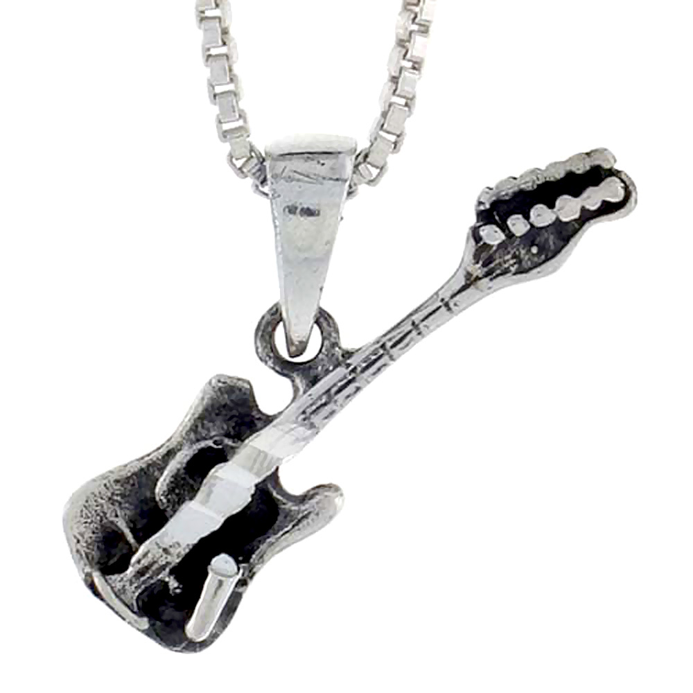 Sterling Silver Guitar Pendant, 3/4 inch tall