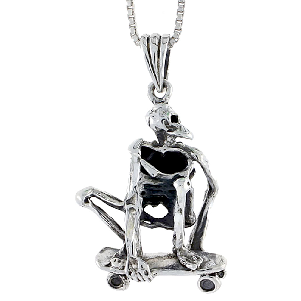 Sterling Silver Skateboarded Skeleton Pendant, 1 inch tall