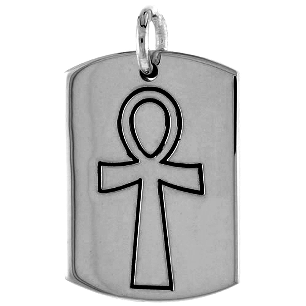 Sterling Silver Dog Tag with Egyptian Ankh, 1 3/16 inch wide