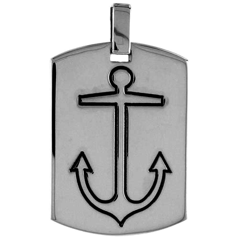 Sterling Silver Dog Tag with Mariners Cross Anchor, 1 3/16 inch wide
