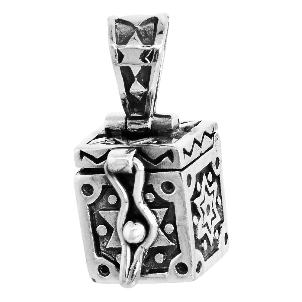 Sterling Silver Prayer Box Pendant Star of David Design 3/8 inch