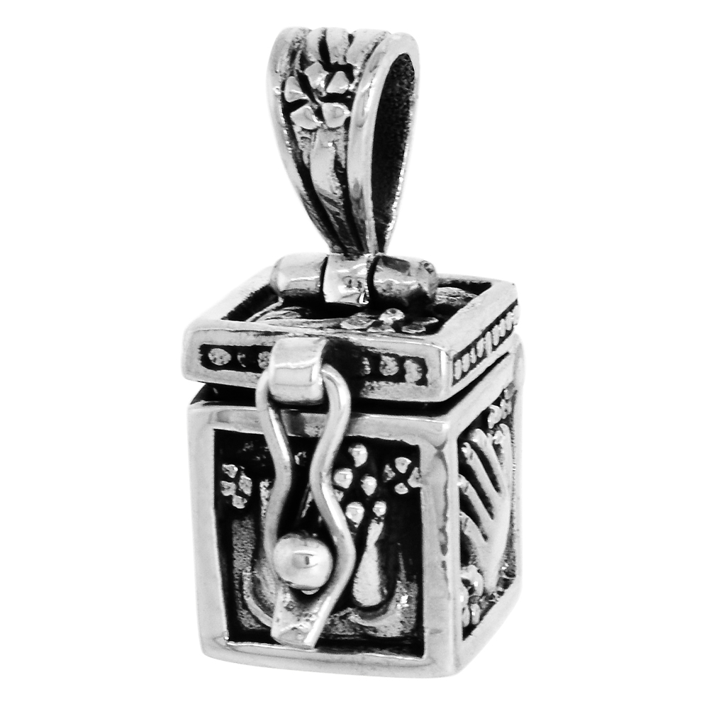 Sterling Silver Prayer Box Pendant Praying Hand Design 3/8 inch