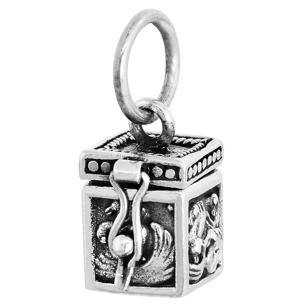 Sterling Silver Prayer Box Pendant Swans Motif 3/8 inch