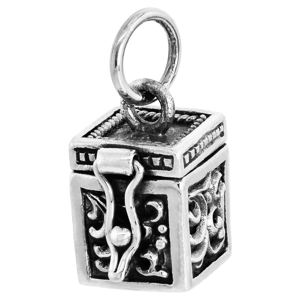 Sterling Silver Prayer Box Pendant Floral Designs 3/8 inch