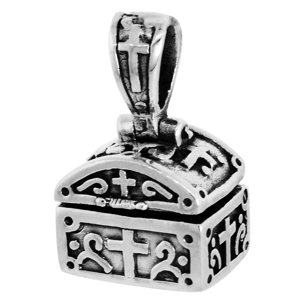 Sterling Silver Prayer Box Pendant Shaped like a Chest Cross Motif 3/8 inch
