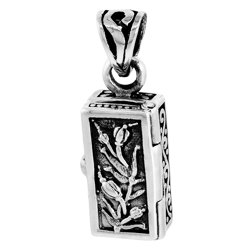 Sterling Silver Prayer Box Pendant Tulips Motif 5/8 inch
