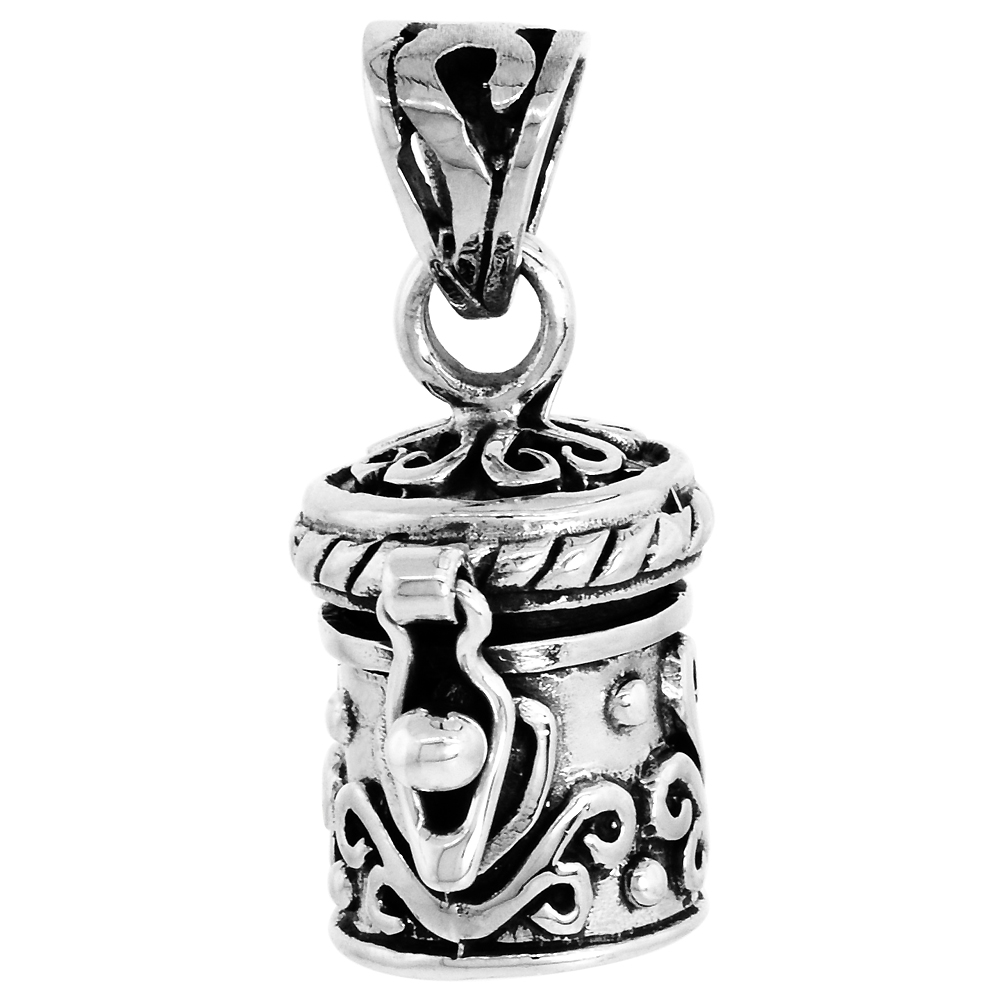Sterling Silver Prayer Box Pendant Floral Design 1/2 inch