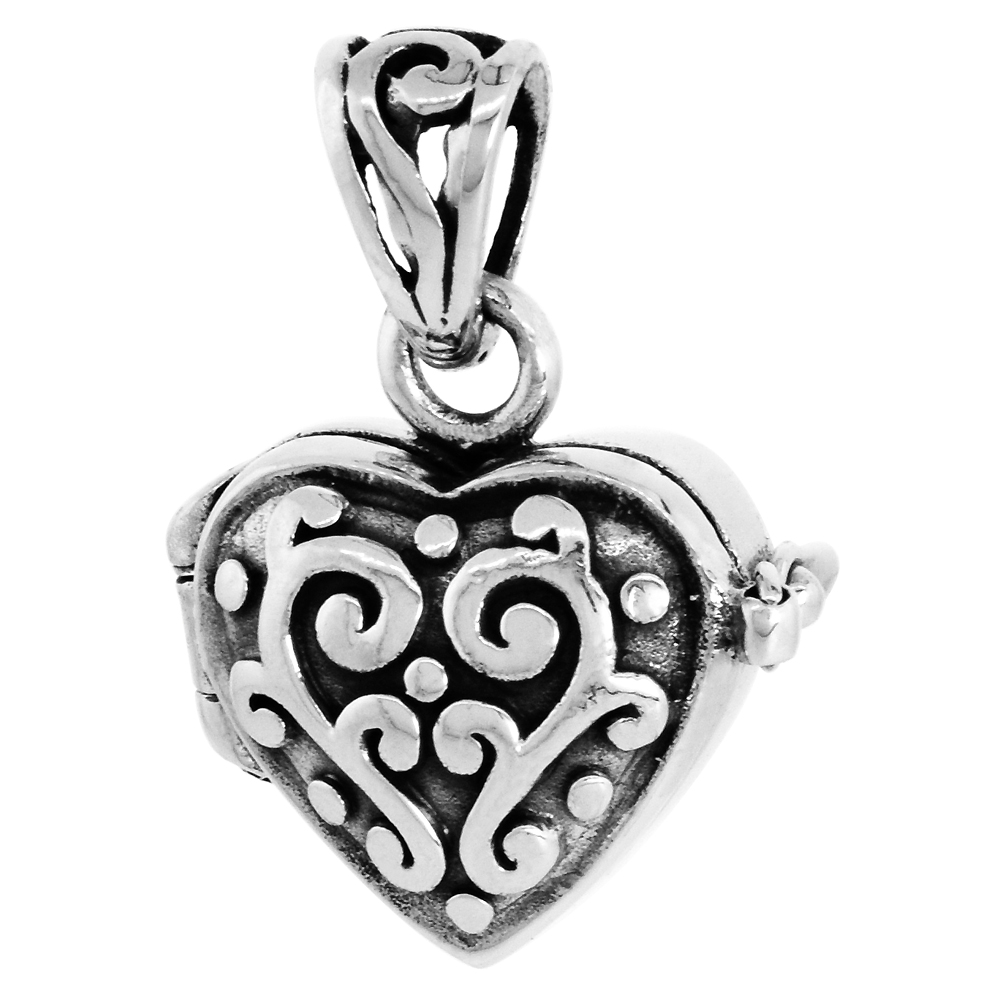 Sterling Silver Prayer Box Pendant Heart Shape Floral Design 1/2 inch