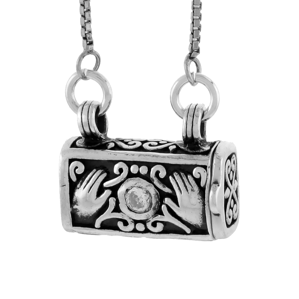 Sterling Silver Prayer Box Necklace Purse Shape Hamsa and CZ Stone Motif, 3/8 inch