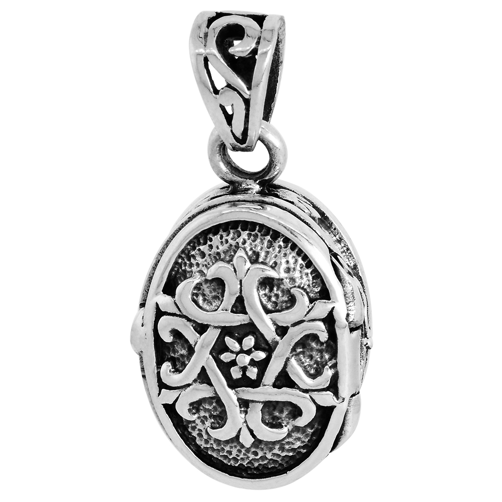 Sterling Silver Prayer Box Pendant Oval Shape Star of David Motif 3/4 inch