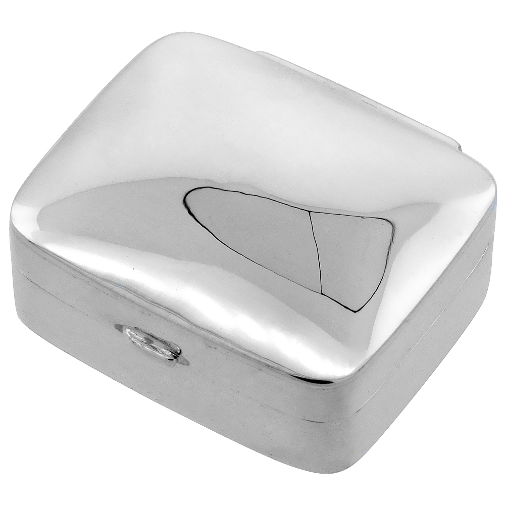 Sterling Silver Pill Box Rectangular Shape Plain High Polished 1 1/8 x 15/16 inch