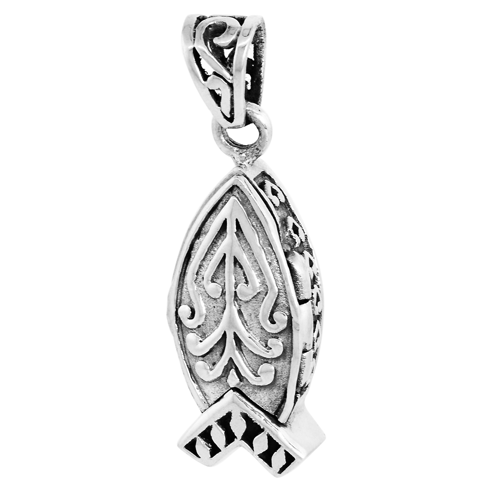 Sterling Silver Prayer Box Pendant Christian Fish Ichthus Motif 7/8 inch