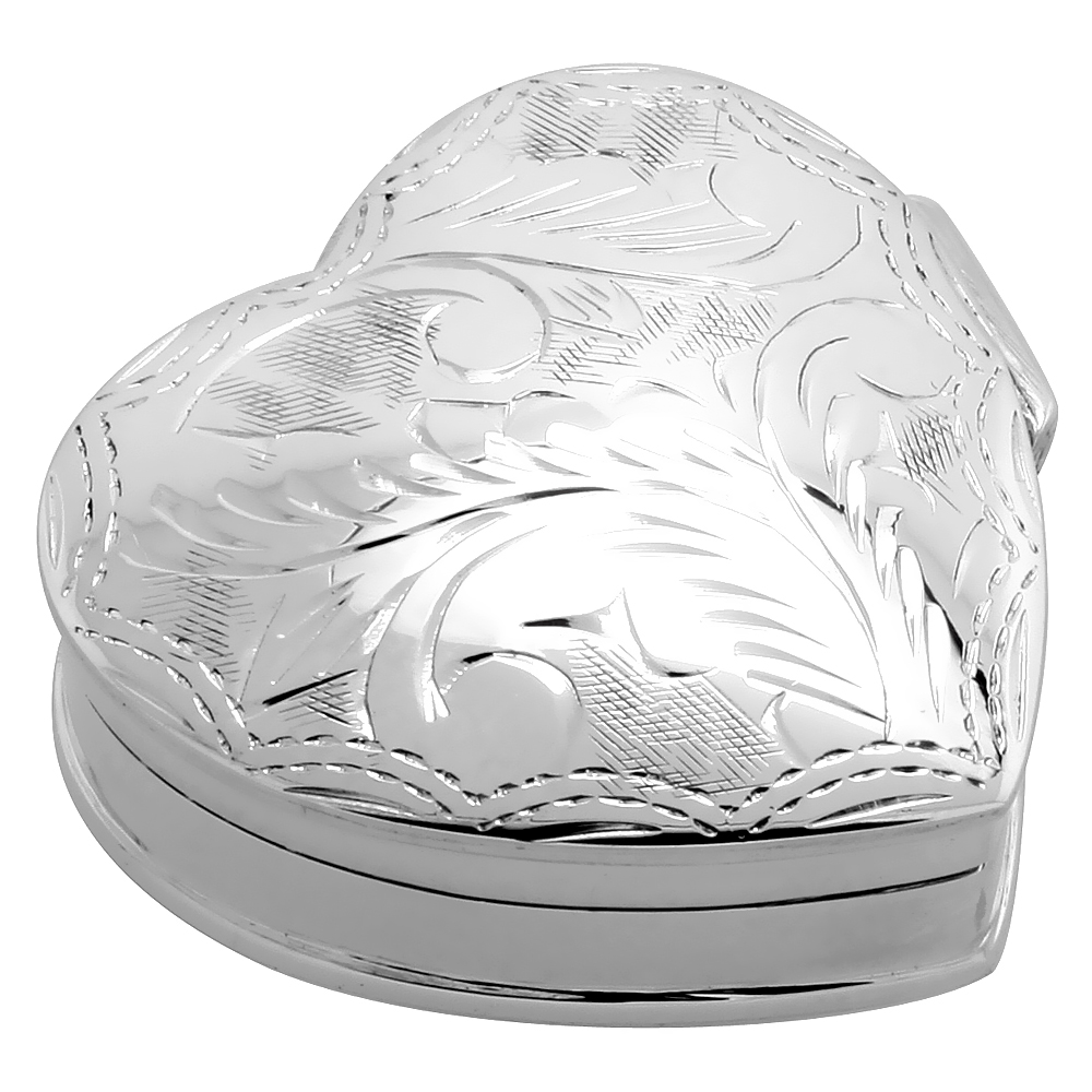 Sterling Silver Pill Box Heart Shape Engraved Finish 1 1/4 x 1 1/4 inch