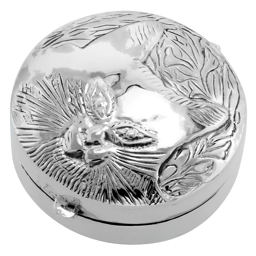 Sterling Silver Pill Box Round Shape Embossed Cat Face, 1 3/8 inch