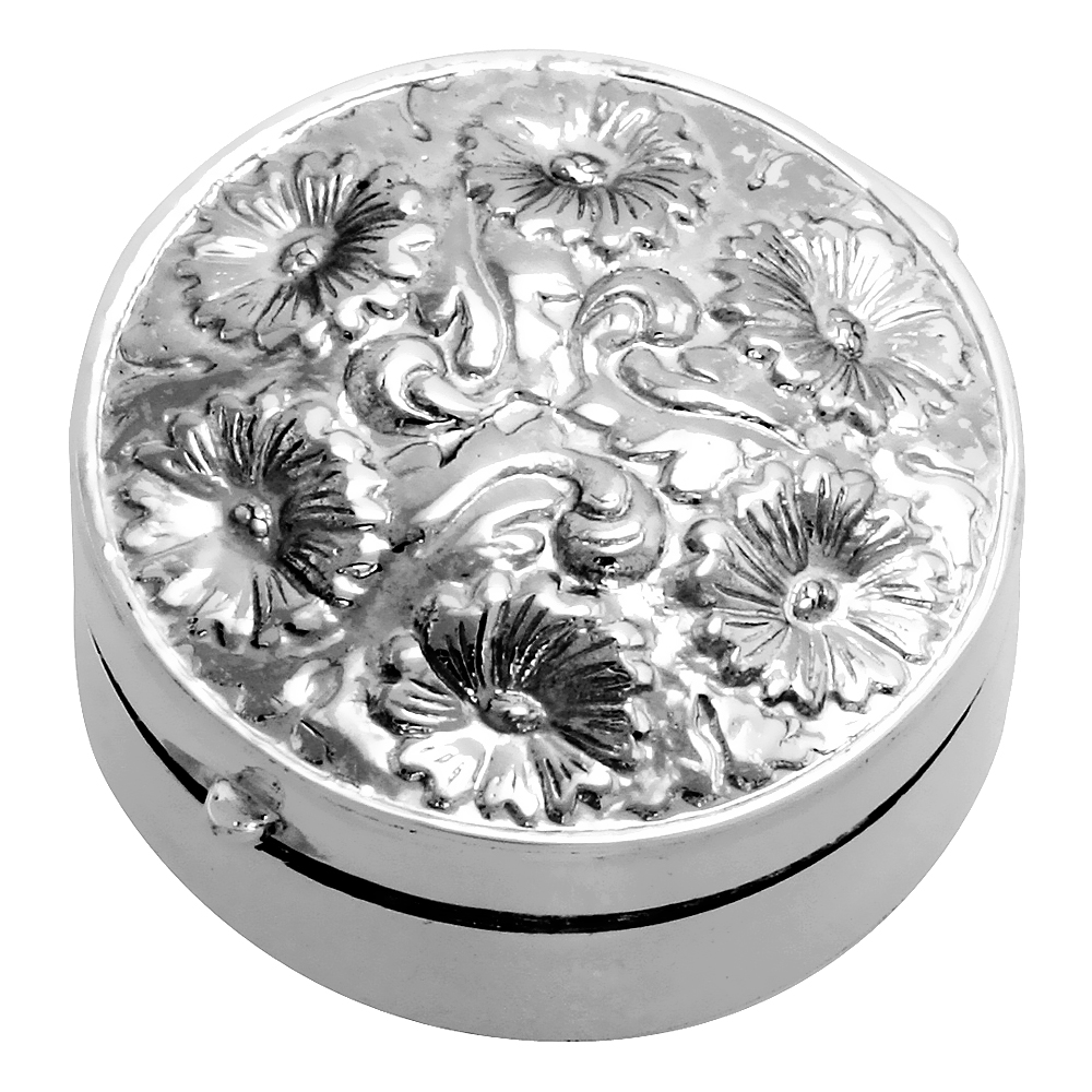Sterling Silver Pill Box Round Shape Floral Embossed Finish, 1 1/4 inch