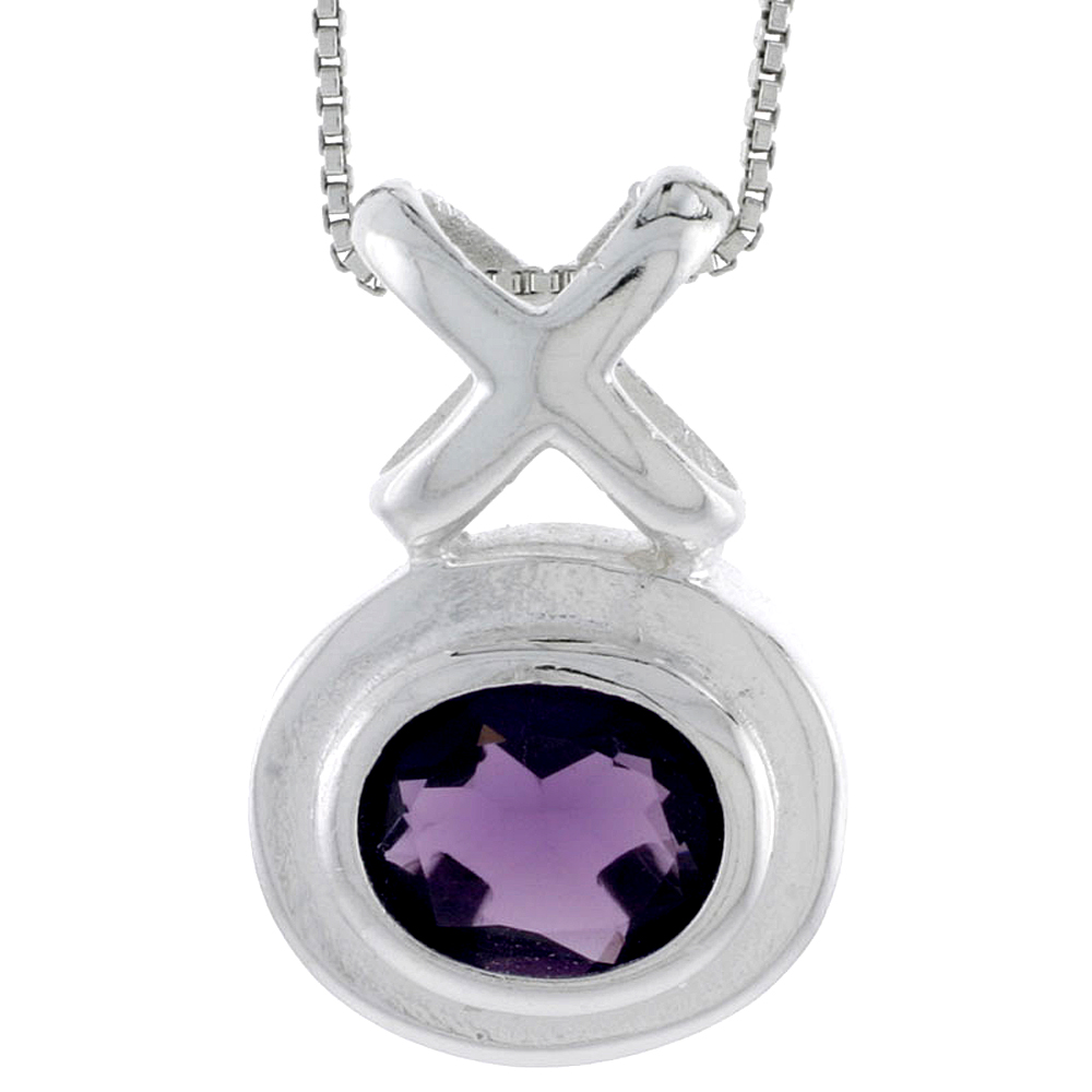 "High Polished Sterling Silver 1 1/16"" (28 mm) tall Hugs & Kisses Pendant, w/ Oval Cut 11x9mm Amethyst-colored CZ Stone, w/ 18"" T"