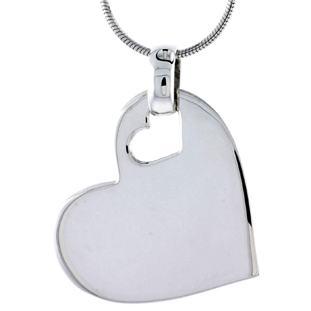 "Sterling Silver High Polished Heart Pendant, w/ Small Cut Out, 15/16"" (24 mm) tall, w/ 18"" Thin Snake Chain"