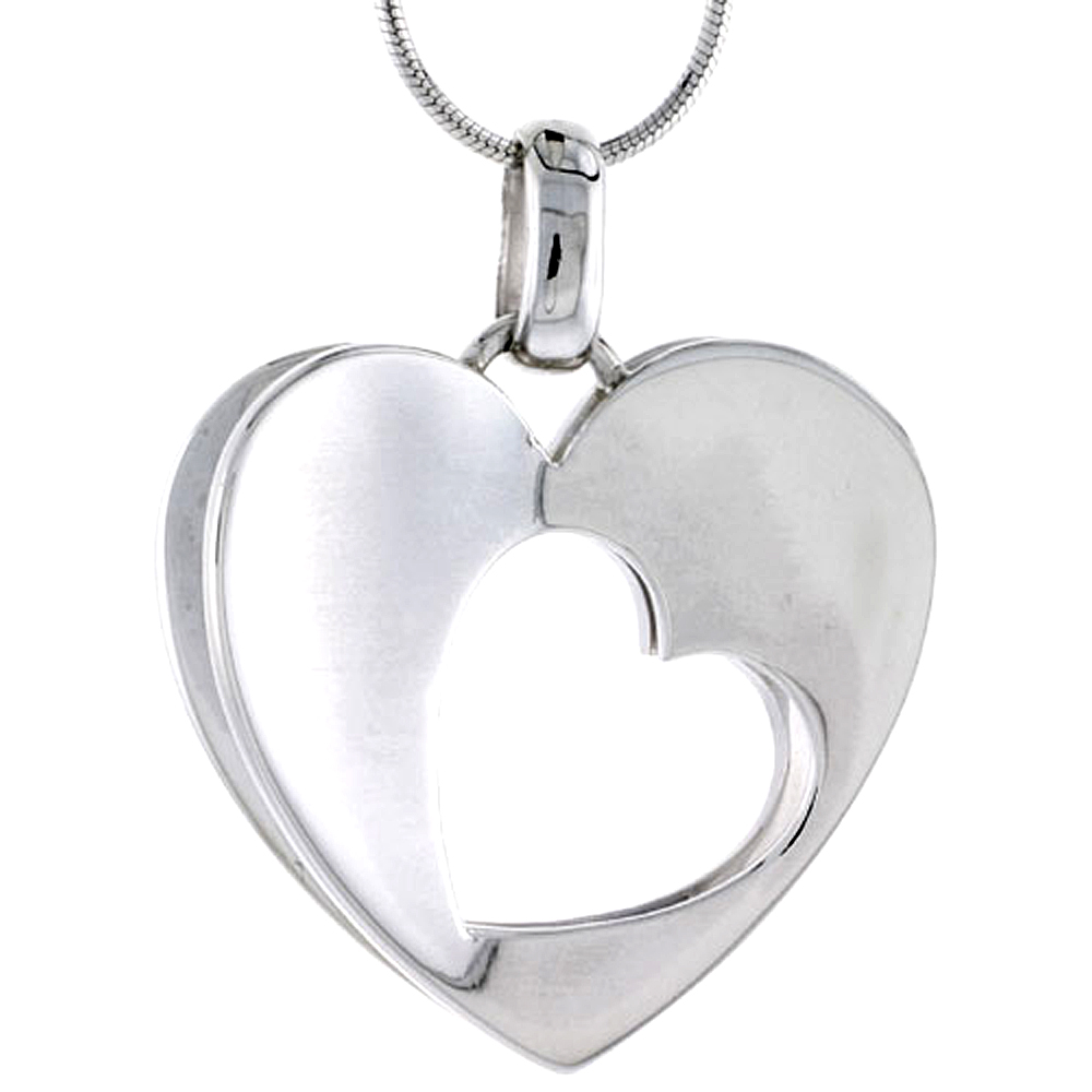 "Sterling Silver High Polished 3D Heart Pendant w/ Cut Out, 1 1/8"" (29 mm) tall, w/ 18"" Thin Snake Chain"