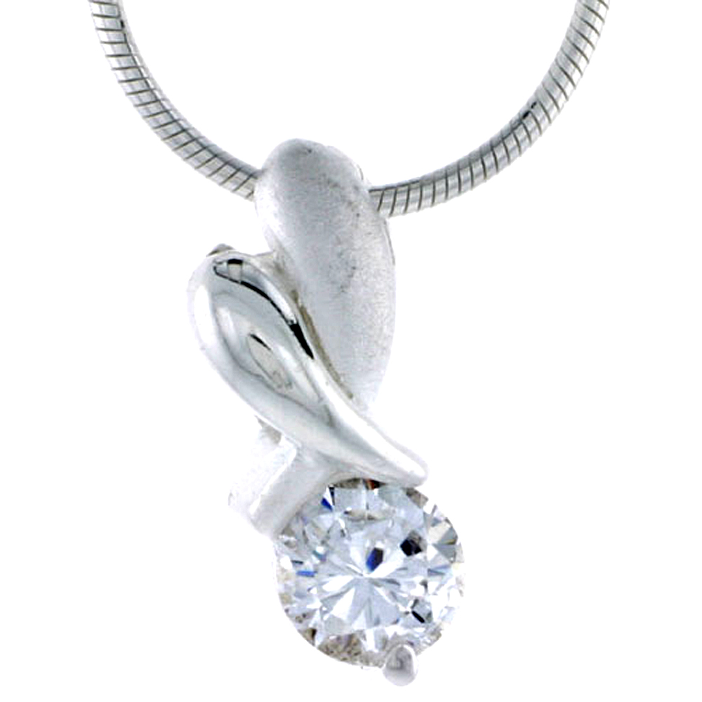 "High Polished Sterling Silver 11/16"" (17 mm) tall ""XO"" Hugs & Kisses Pendant, w/ 6mm Brilliant Cut CZ Stone, w/ 18"" Thin Box Chain"